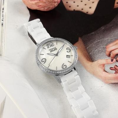 NATURALLY JOJO / 珍珠母貝 日期 晶鑽時尚 陶瓷手錶-白色/34mm