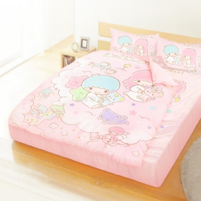 享夢城堡 精梳棉雙人加大床包涼被四件組-雙星仙子Little Twin Stars 小熊扮家家-粉