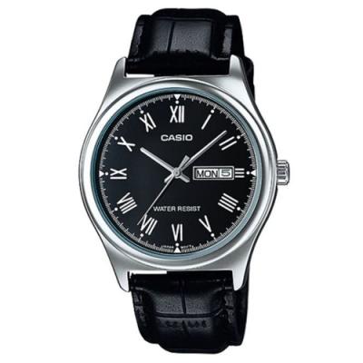 CASIO 時尚風星期日期顯示羅馬指針黑皮帶腕錶(MTP-V006L-1B)黑面/38mm