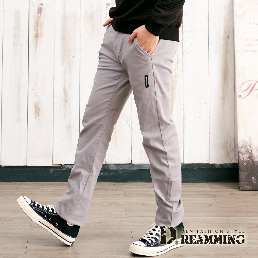 Dreamming 日系布標伸縮小直筒休閒長褲-共二色 (淺灰)