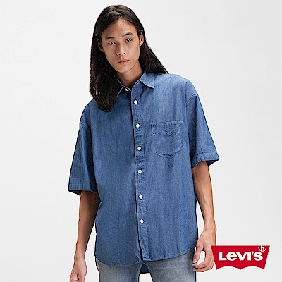Levis 男款 Stay Loose 復古寬鬆版短袖牛仔襯衫 單口袋刺繡細節