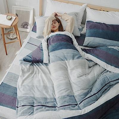 AmissU 北歐送暖法蘭絨單人床包枕套2件組 深夜之旅
