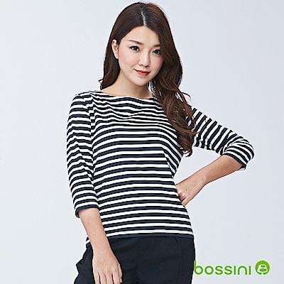 bossini女裝-圓領七分袖條紋上衣01海軍藍