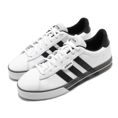 adidas 休閒鞋 Daily 3 復古 低筒 男鞋 愛迪達 基本款 板鞋 皮革鞋面 白 黑 G55066