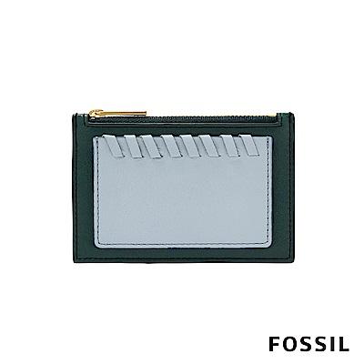 FOSSIL Shelby 真皮系列拉鍊卡片夾-深綠/粉藍