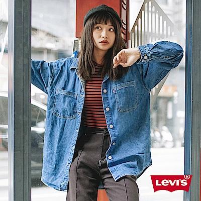Levis 襯衫外套 女款 Oversize 寬鬆版型 立體字母刺繡 質感金屬扣