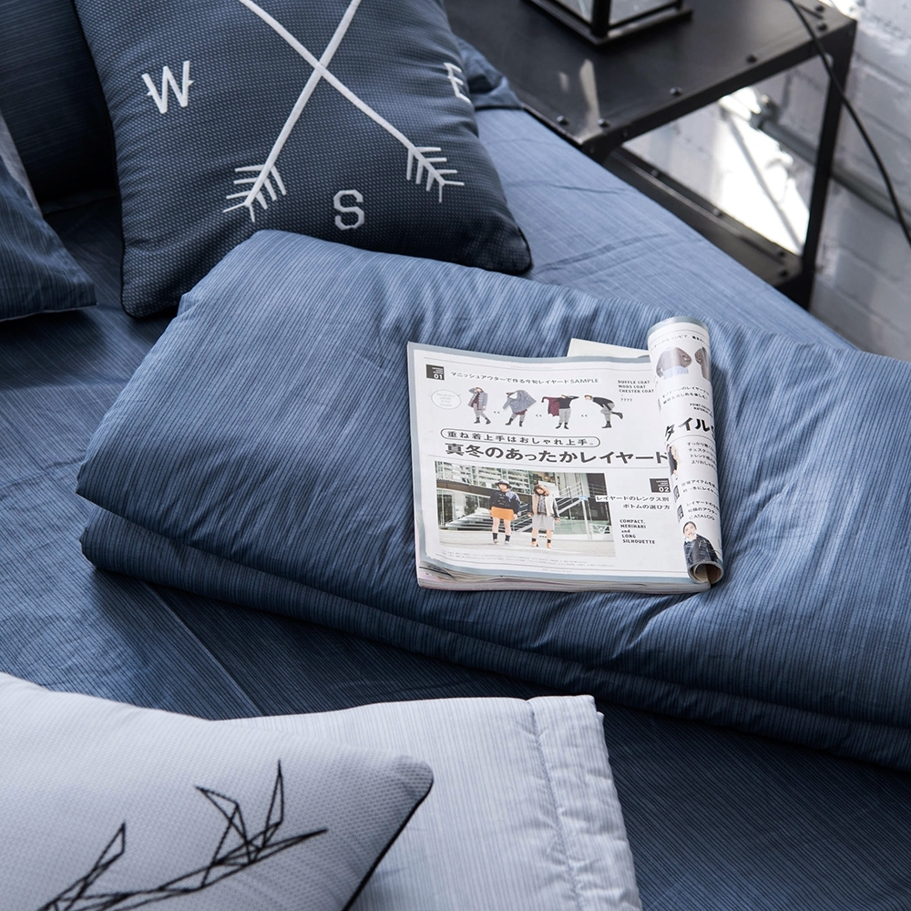 OLIVIA  諾亞 灰藍  5x6尺夏日涼被   200織精梳純棉 台灣製