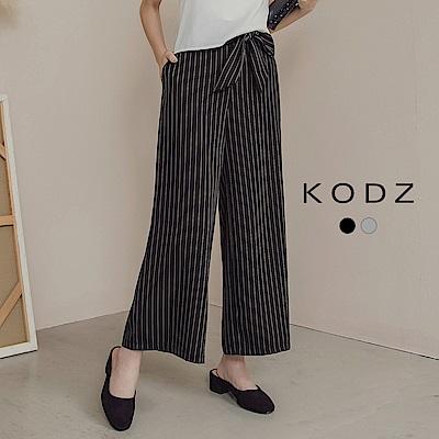 東京著衣-KODZ OL必備直條前綁帶顯瘦寬褲-S.M.L(共二色)