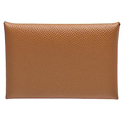 HERMES 經典Calvi系列EPSOM小牛皮方型暗釦名片/信用卡夾(金褐色)