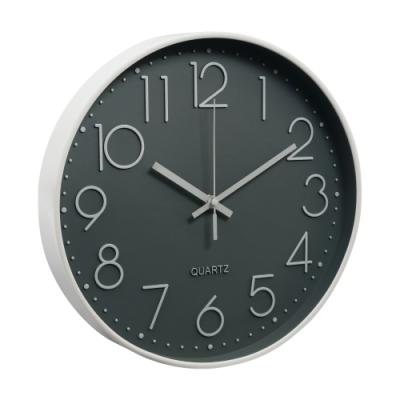 北歐靜音時鐘掛鐘-灰底白字