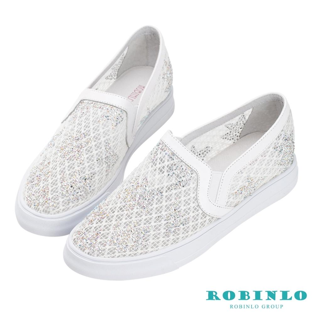 Robinlo 小清新楓葉鑲鑽休閒鞋 白色