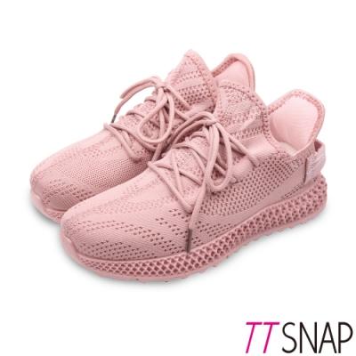TTSNAP健走鞋-運動輕量織面綁帶慢跑休閒鞋 粉