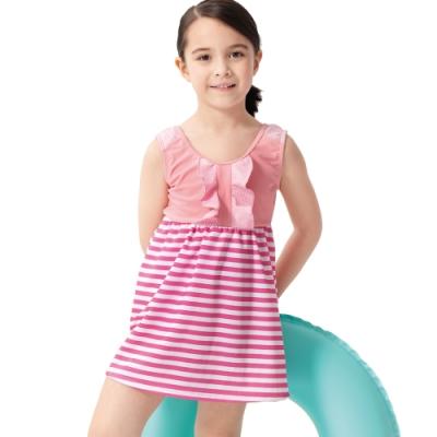 沙兒斯 兒童泳裝 粉紅橫紋背心連身裙式女童泳裝