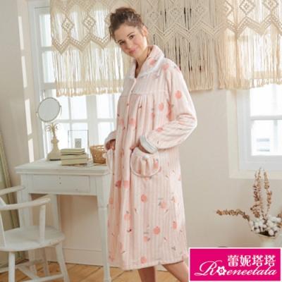 睡衣 蕾妮塔塔 戀戀水蜜桃 極暖超柔軟水貂絨睡衣(R85230-15粉)