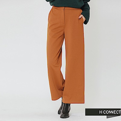 H:CONNECT 韓國品牌 女裝-俐落簡約後鬆緊寬褲-棕