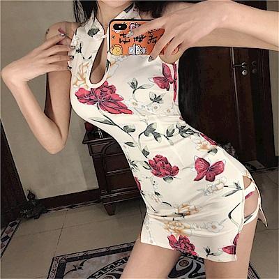 DABI 韓系復古大花改良式旗袍無袖洋裝
