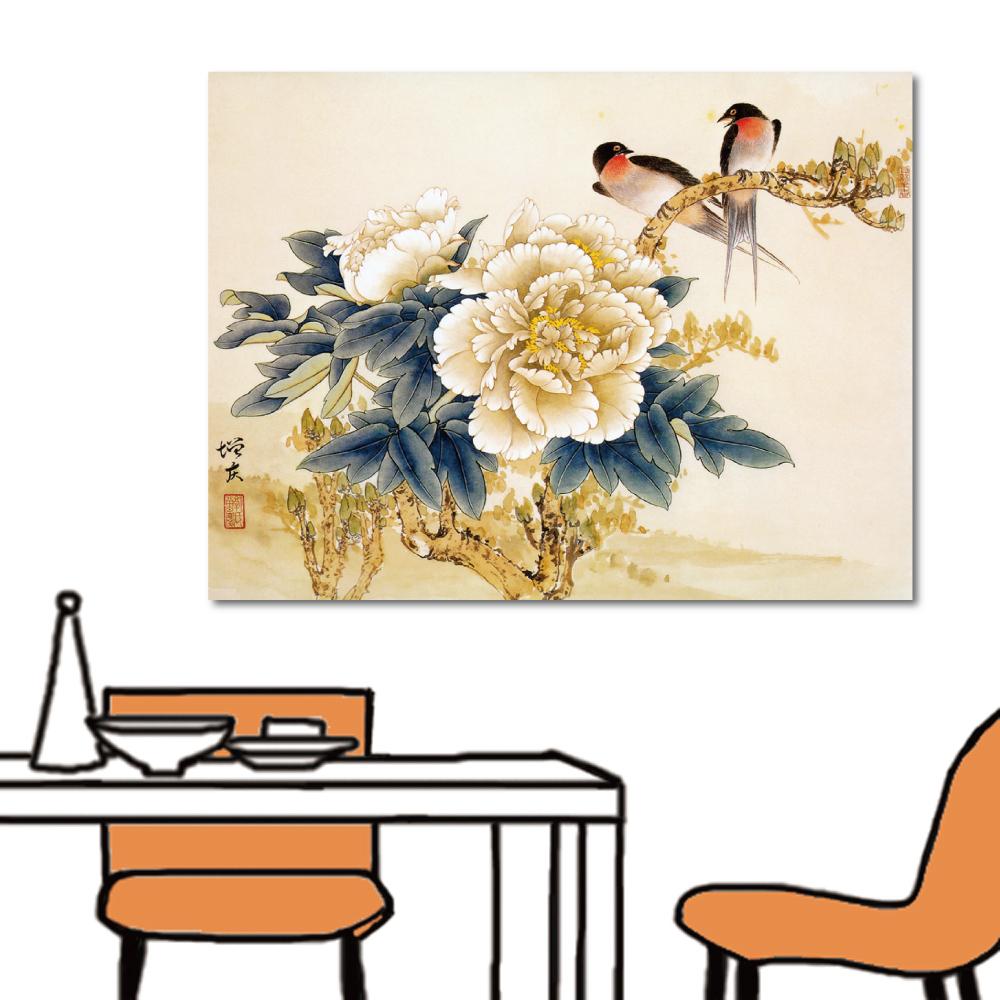 24mama掛畫 單聯式 無框畫中國風掛畫-燕與牡丹40x30cm