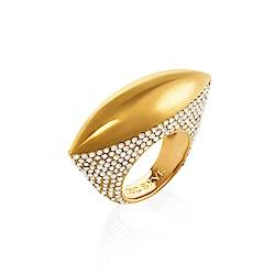 CC SKYE  白色水鑽 UFO 飛碟造型 金色寬版戒指 附原廠禮物盒