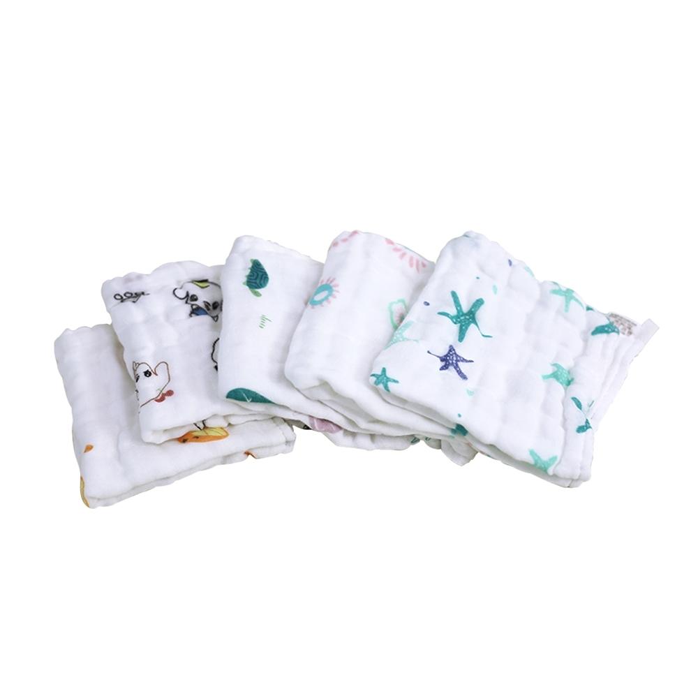 colorland【10入】兒童印花澎澎紗布方巾圍嘴 純棉餵奶巾6層紗小方巾(30*30cm)