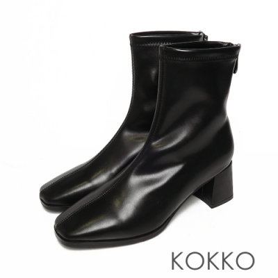 KOKKO激瘦感方頭粗跟短靴黑色