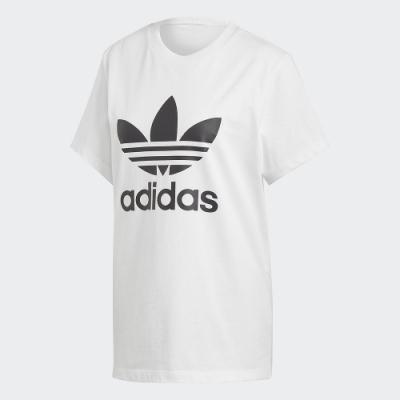 adidas 短袖上衣 運動 休閒 健身 訓練 女款 白 DX2322 BOYFRIEND TREFOIL