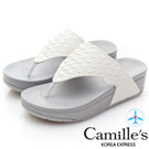 Camille's 韓國空運-編織夾腳厚底涼拖鞋-白色