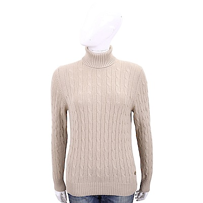 Andre Maurice 喀什米爾麻花織紋奶茶色高領羊毛衫