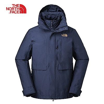 The North Face北面男款藍色防水保緩三合一外套|3L6ZH2G