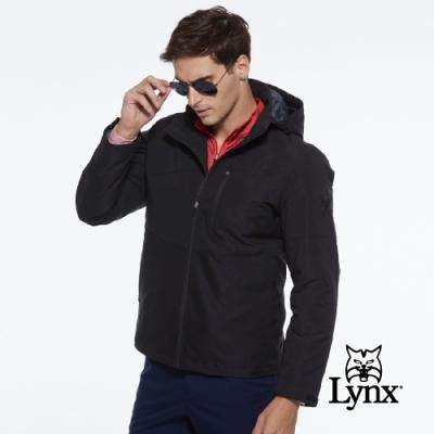 【Lynx Golf】男款防潑水防風保暖Lynx Sport繡花胸袋款連帽可拆式長袖羽絨外套-黑色