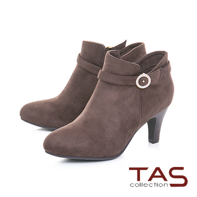 TAS素面絨布金屬圓扣繫帶高跟踝靴–溫暖咖