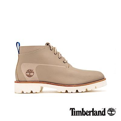 Timberland 男款卡其灰皮革低筒靴 A1OX4