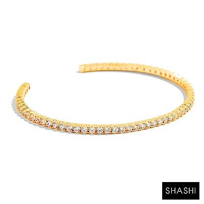 SHASHI Bianca Cuff 金色鑲鑽手環 亮面優雅圓弧 925純銀鑲18K