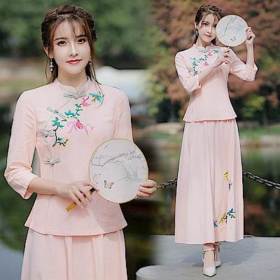 中式繡花民族風旗袍套裝M-2XL(共兩色)-REKO