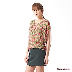 KeyWear奇威名品    100%純絲油畫花園垂袖洋裝-綜合色