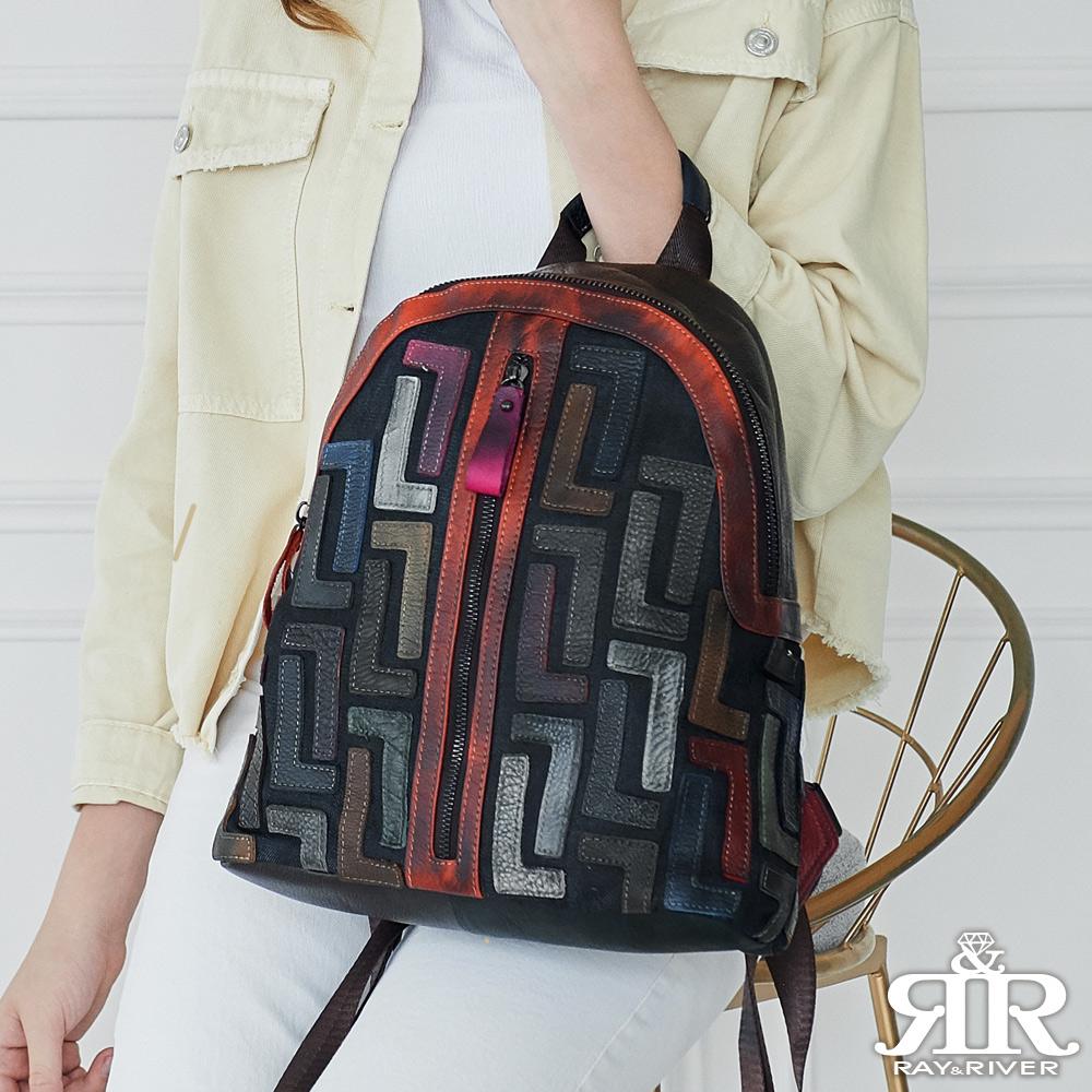 2R 頭層牛皮L設計炫彩注目後背包