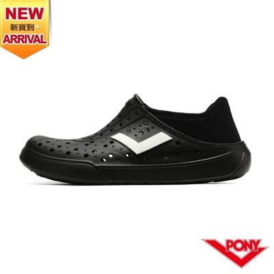 【PONY】ENJOY洞洞鞋 踩後跟 雨鞋 水鞋 中性款-單色/黑
