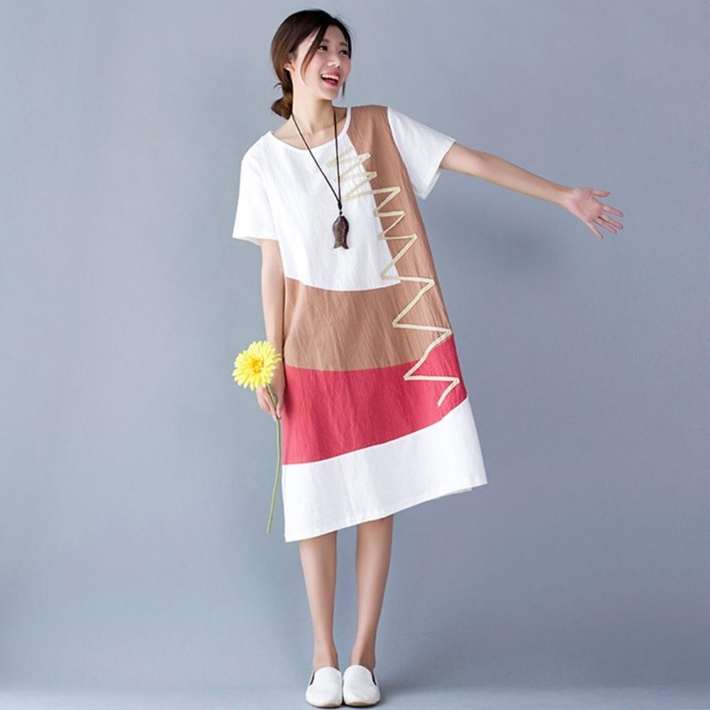 米蘭精品 連身裙短袖洋裝-撞色拼接夏季棉麻女裙子4色73xz25