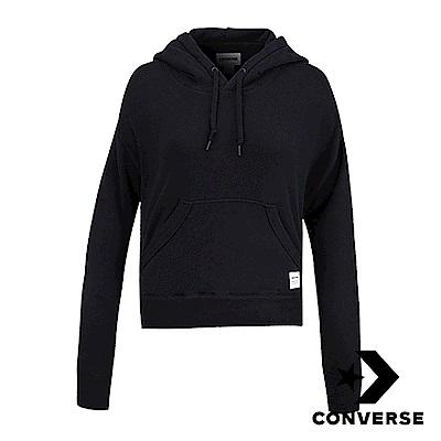 CONVERSE-女休閒連帽上衣-黑-10006367-A01