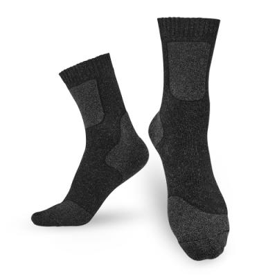 【Titan】太肯 登山健行羊毛中筒襪_黑灰_2雙