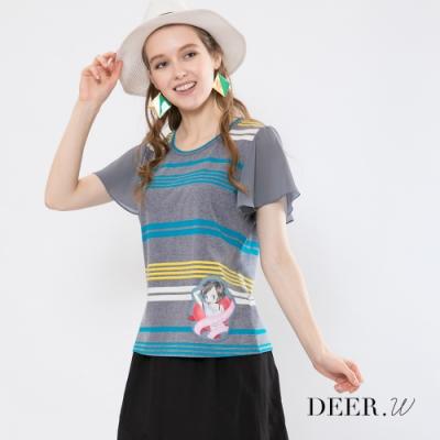 Betty Boop貝蒂 拼接雪紡袖配色條紋柔棉上衣(共兩色)