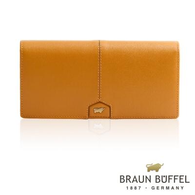 BRAUN BUFFEL - 蕾絲莉系列18卡兩折長夾 - 深桔黃