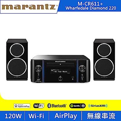 Marantz馬蘭士 M-CR611擴大機+Wharfedale Diamond 220喇叭/黑