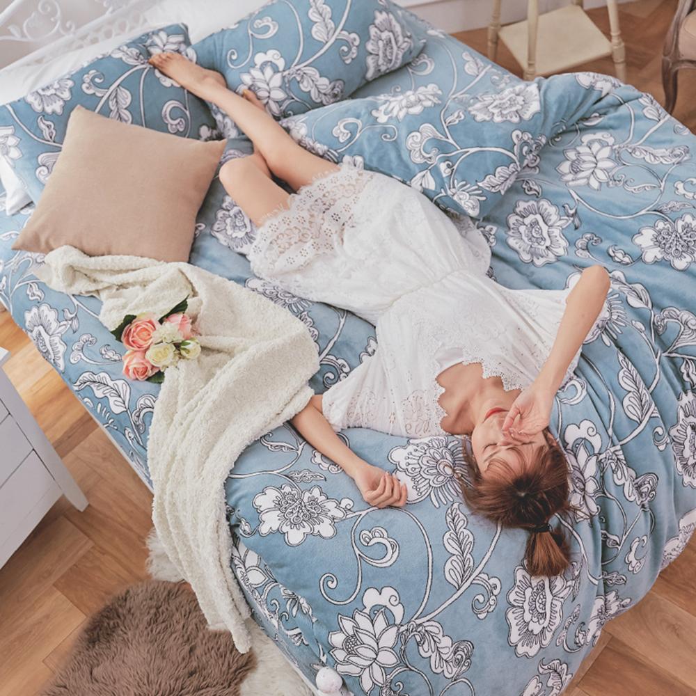戀家小舖 / 法蘭絨  單人床包兩用毯組  芬妮雅  保暖抗寒