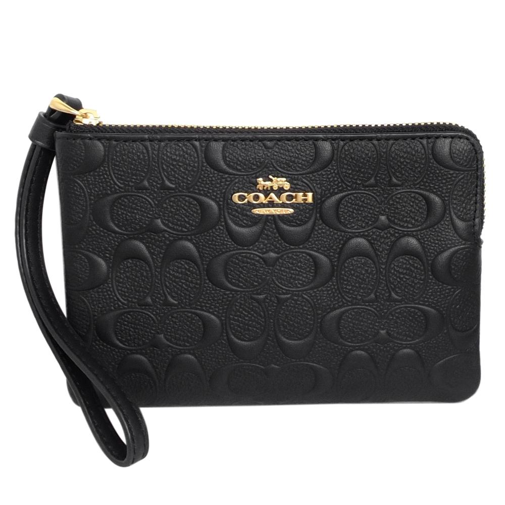 COACH黑色浮雕C Logo防刮皮革拉鍊萬用手拿包