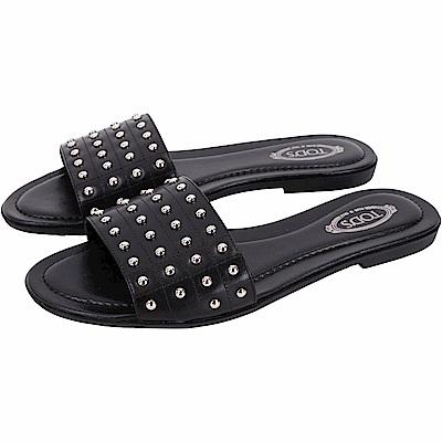 TOD'S Gommino 金屬鉚釘豆豆平底涼鞋/拖鞋(黑色)
