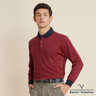 Emilio Valentino范倫鐵諾簡約風格細條橫紋POLO衫_紅(21-9V2852)