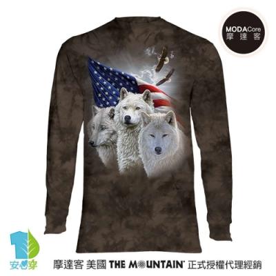 摩達客 預購 美國The Mountain 愛國三白狼 純棉長袖T恤