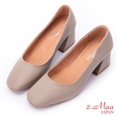 2.Maa (偏小)氣質UP柔軟牛皮方頭高跟鞋 - 米色