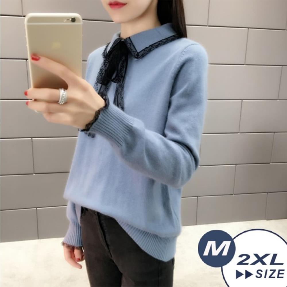 【LANNI 藍尼】蕾絲娃娃百搭毛衣-4色(M-2XL)●