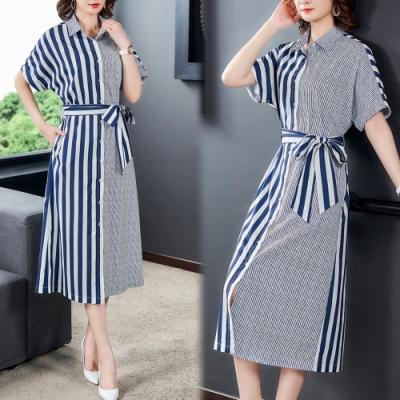 【韓國K.W.】(預購) 美搭款完美曲線自然條紋綁帶洋裝